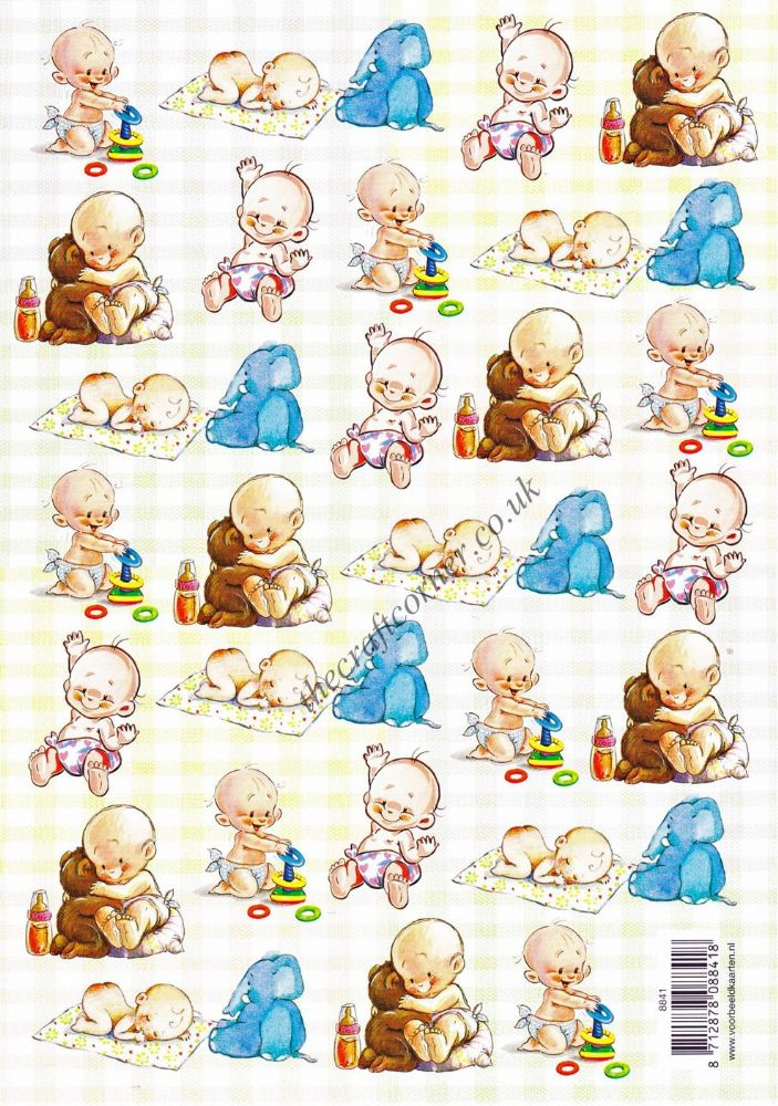 Baby With Toys Designs 3d Decoupage Sheet